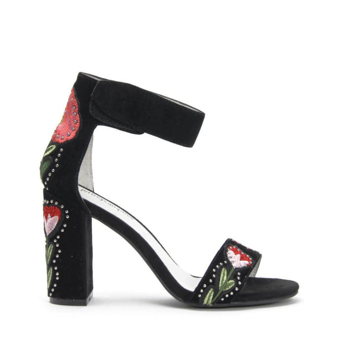 JEFFREY CAMPBELL LINDSAY PT. High Block Heel Sandal. Black Suede. Floral Embroidered Detail.
