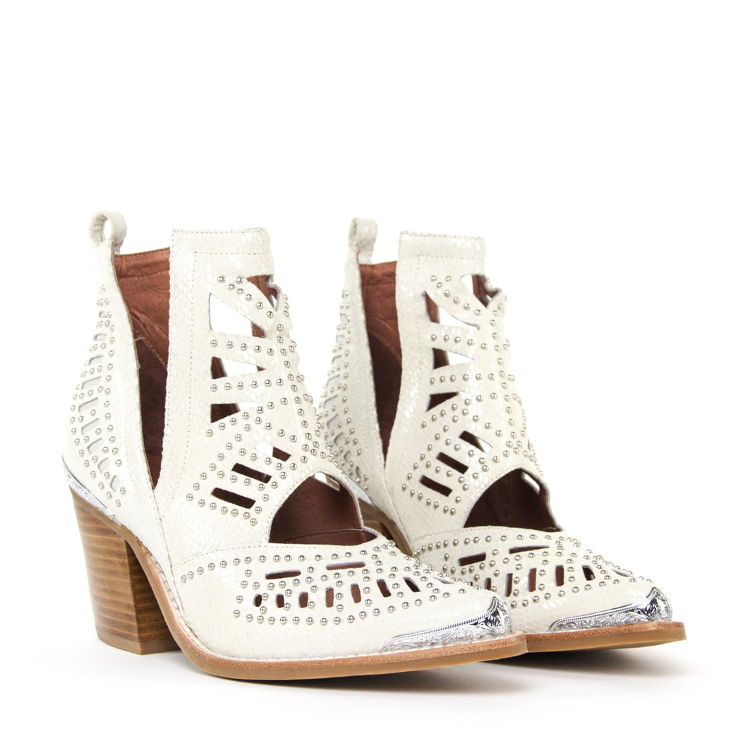 JEFFREY CAMPBELL Maceo Studded Cut-Out Bootie Beige Snake.