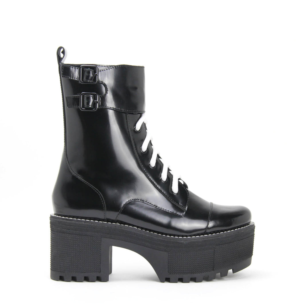 Jeffrey Campbell MELVIN Lace-up Platform Combat Boot in black box calf leather on a 5.5 lug platform sole & 7.5cm heel. Shop Now Pay Later with Afterpay. Free Shipping.