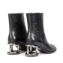 Jeffrey Campbell OASIS RH. Women's Ankle Boot In Black Leather With Zip Closure & 6.5cm Metal Effect Heel. Free Shipping Over $150. Afterpay & ZipPay Available.