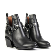 Jeffrey Campbell ORWELL-2HR Harness Biker Ankle Boot In Black Leather With Removable Harness. Free Shipping Over $150. Afterpay & zipPay Available.