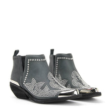 JEFFREY CAMPBELL OXNARD ST Studded Western Cutout Ankle Boot in black distressed leather. Pointed toe. Stacked 4.5cm Cuban heel, silver toe & heel rands.Free Shipping.