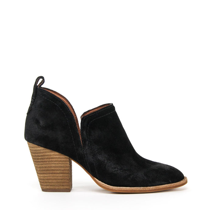 JEFFREY CAMPBELL Rosalee Ankle Bootie Black Oiled Suede.