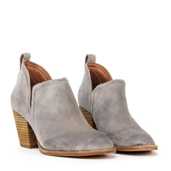 JEFFREY CAMPBELL Rosalee Ankle Bootie Taupe Oiled Suede.