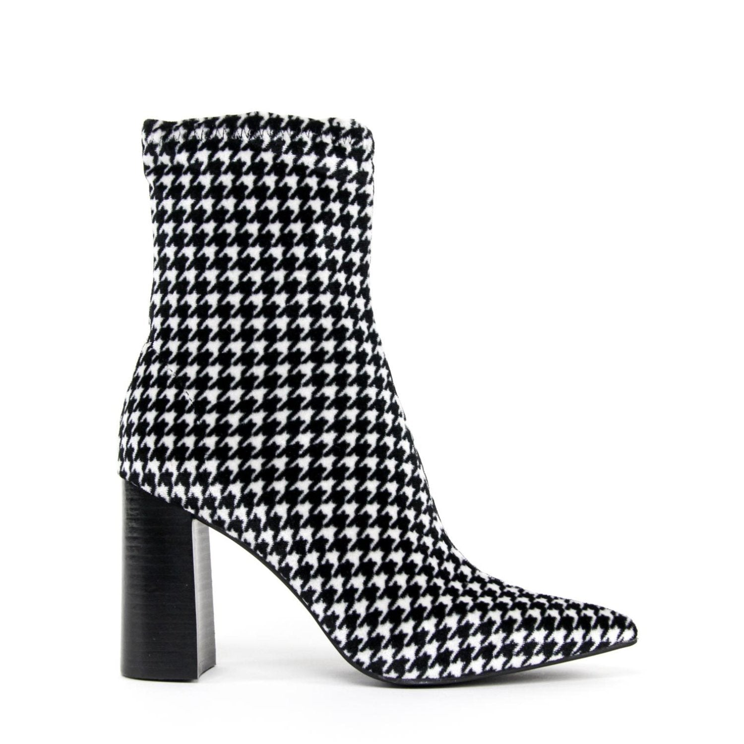 e4c9c4d50e28 Details about NEW JEFFREY CAMPBELL SIREN High Heel Ankle Boot Houndstooth  Velvet
