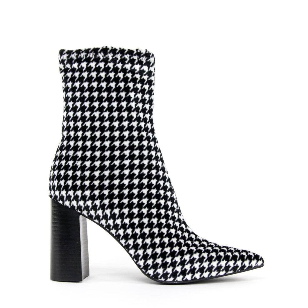 JEFFREY CAMPBELL Siren. High heel ankle bootie. Houndstooth Velvet. Designed In California. Buy Now Afterpay & zipPay Available. Free & Fast Shipping AU.
