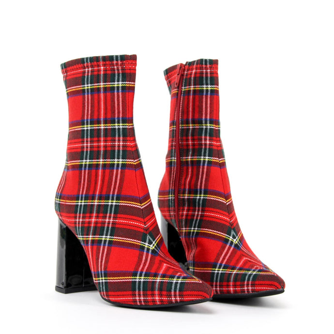 JEFFREY CAMPBELL Siren High Heel Point Ankle Boot Tartan.