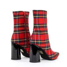JEFFREY CAMPBELL Siren. High heel ankle bootie. Red Tartan Textile. Designed In California. Buy Now Afterpay & zipPay Available. Free & Fast Shipping AU.