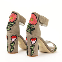 JEFFREY CAMPBELL LINDSAY PT. High Block Heel Sandal. Taupe Suede. Floral Embroidered Detail. Free Shipping Australia Wide Over $150. Shop Now Pay Later Afterpay.