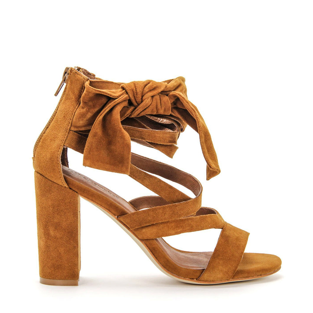 JEFFREY CAMPBELL YASMINA. High Strappy Sandal. Ankle Strap Bow Detail. Tan Suede Upper. Leather Lined. 9cm Block Heel. Shop Now Pay Later Afterpay. Free Shipping.
