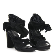 JEFFREY CAMPBELL YASMINA. High Strappy Sandal. Ankle Strap Bow Detail. Black Suede Upper. Leather Lined. 9cm Block Heel. Shop Now Pay Later Afterpay. Free Shipping.