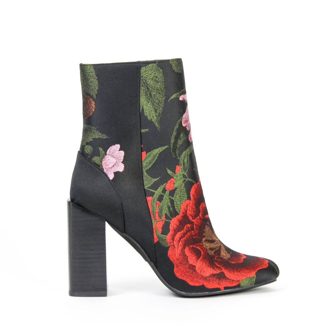 Jeffrey Campbell STRATFORD High Heel Ankle Boot, in red/black floral fabric with side zip closure on a 10cm block heel and man made sole. Free Shipping Over $150. Afterpay & ZipPay Available.