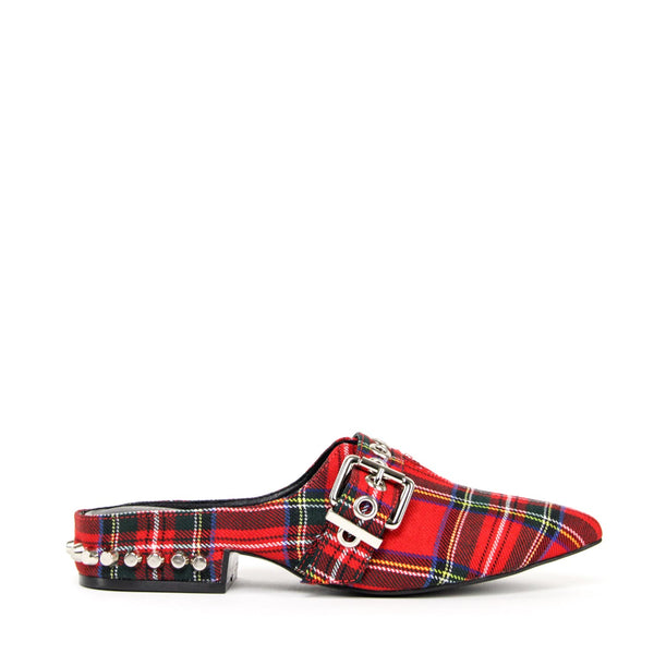 JEFFREY CAMPBELL Talega Studded Mule Red Tartan.