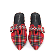 JEFFREY CAMPBELL Talega. Studded Mule. Red Tartan. Designed In California. Buy Now Afterpay & zipPay Available. Free & Fast Shipping AU. Exclusive.