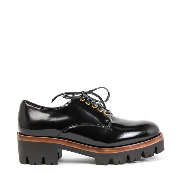 JEFFREY CAMPBELL Trevor Chunky Platform Derby Shoe Black Shine.