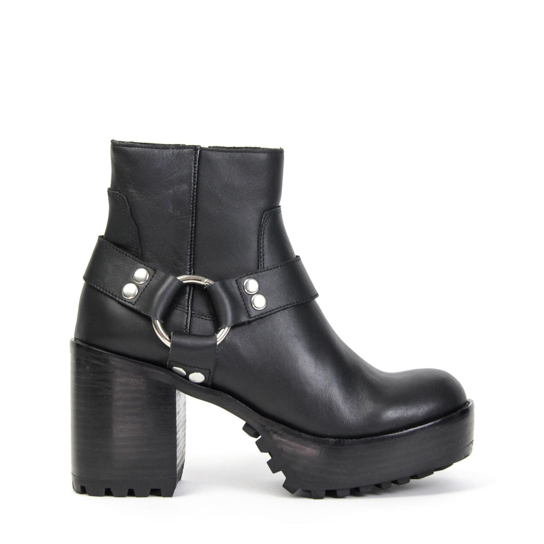 Jeffrey Campbell VEJAR2-HRN Harness Biker Ankle Boot in black leather with ring detail. 8.25cm block heel. Free Shipping Over $150. Afterpay & ZipPay Available.