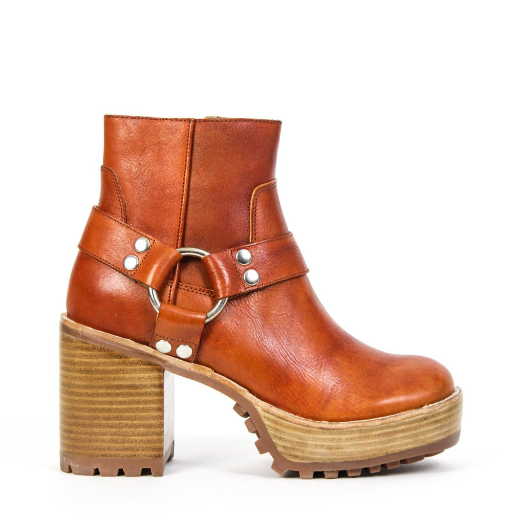 Jeffrey Campbell VEJAR2-HRN Harness Biker Ankle Boot in tan leather with ring detail. 8.25cm block heel. Free Shipping Over $150. Afterpay & ZipPay Available.
