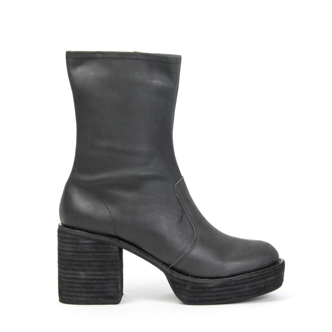 Jeffrey Campbell VEJAR-MID Mid Calf Boot in black distressed leather. 8.25cm block heel. Free Shipping Over $150. Afterpay & ZipPay Available.