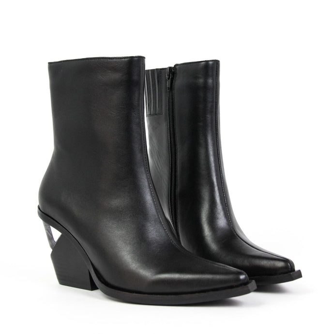7e140382b0b38 ... WALTON-3 Notched Heel Western Boot Black Leather. JEFFREY CAMPBELL