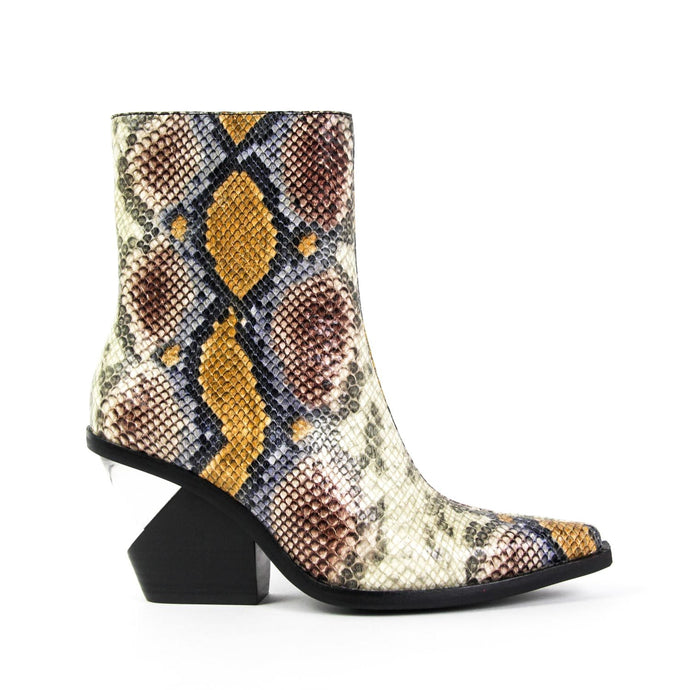 JEFFREY CAMPBELL Walton-3 Notched Heel Western Boot Grey Wine Snake.