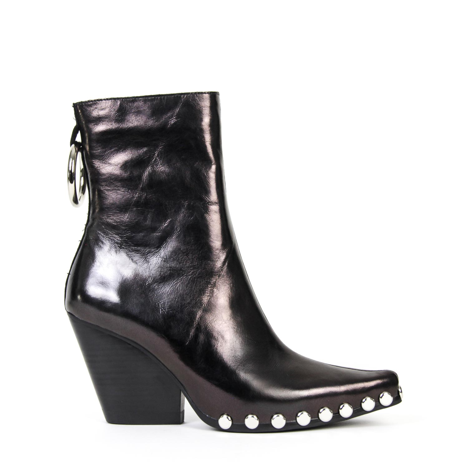 041271787a1ba Details about NEW JEFFREY CAMPBELL WALTON-STR BOOT BLACK METALLIC