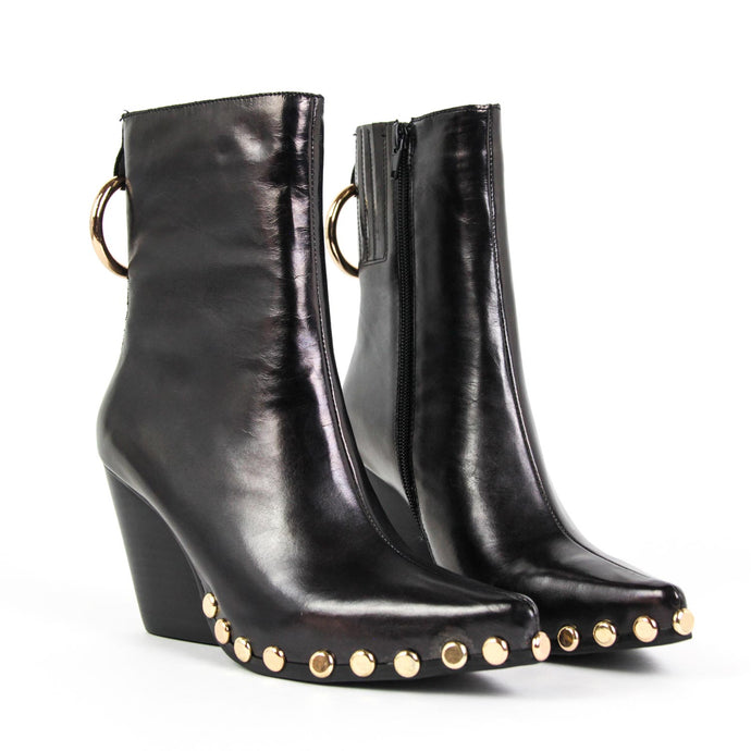 JEFFREY CAMPBELL Walton-STR Western Boot Black Metallic.