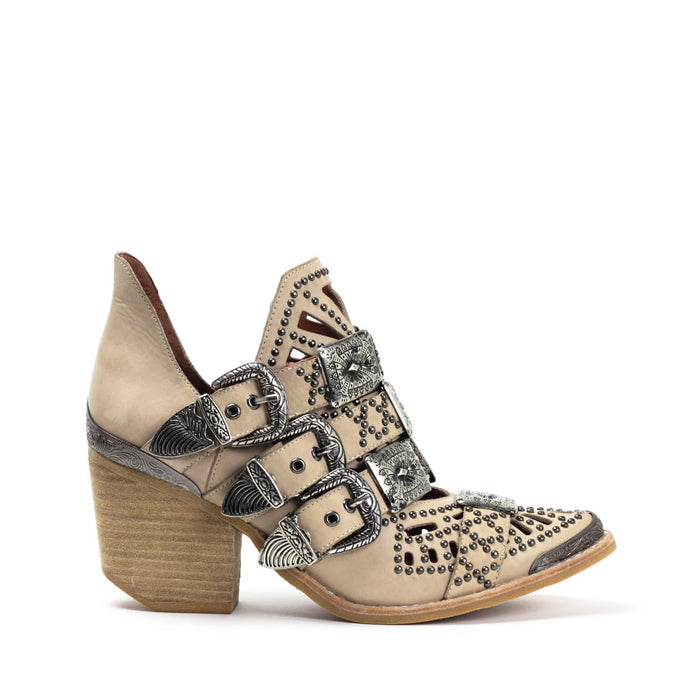 JEFFREY CAMPBELL WYCLIFF-2 Studded Buckle Ankle Boot Natural Distressed Leather.