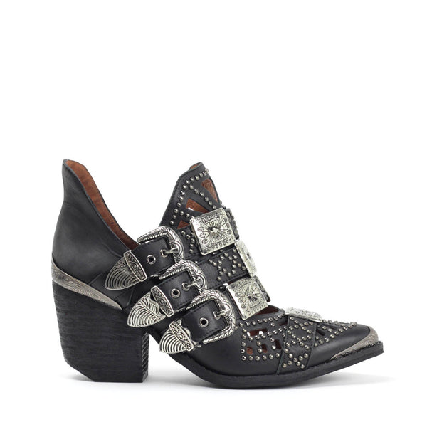 JEFFREY CAMPBELL WYCLIFF-2 Studded Buckle Ankle Boot Black Distressed Leather.