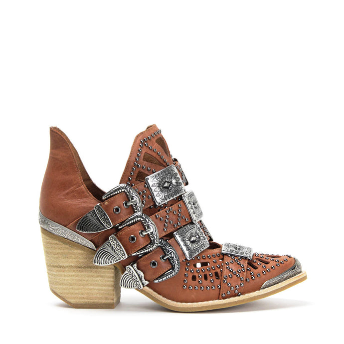 JEFFREY CAMPBELL WYCLIFF-2 Studded Buckle Ankle Boot Tan Distressed Leather.