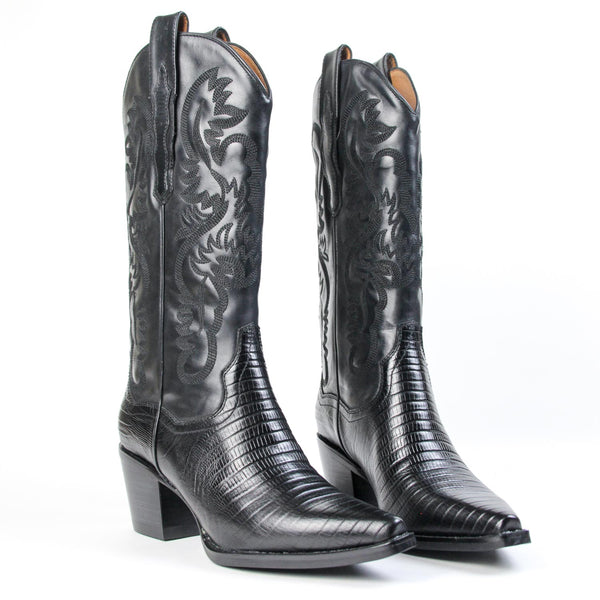 DAGGET Western Boot Black Lizard Leather