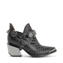 JEFFREY CAMPBELL CALHOUN 4M. Cutout Harness Bootie. Black Leather Upper. 7.5cm Heel With A Pewter Metal Finish. California. Buy Now & Pay Later with Afterpay.