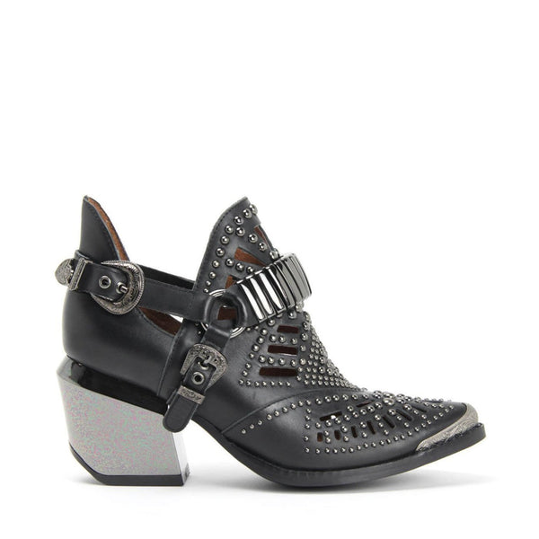 Jeffrey Campbell Calhoun 4M. Cutout Harness Bootie. Black Leather Upper. 7.5cm Heel With A Pewter Metal Finish. California.