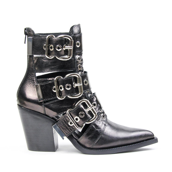 CACERES Cutout Buckle Bootie Black Metallic Leather