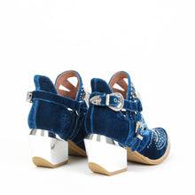 JEFFREY CAMPBELL CALHOUN 4M. Cutout Harness Bootie. Blue Velvet Upper. 7.5cm Heel With A Silver Metal Finish. California. Buy Now & Pay Later with Afterpay.