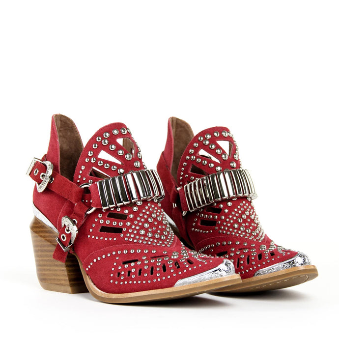 JEFFREY CAMPBELL Calhoun 4 Studded Harness Bootie Red Suede.