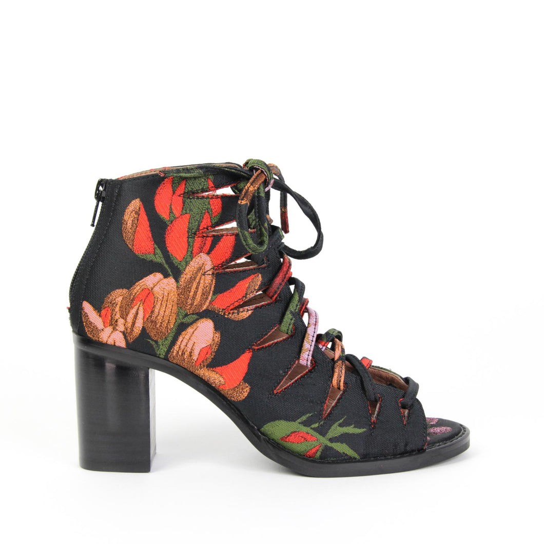 JEFFREY CAMPBELL CORWIN. Cut Out Corset Bootie. Lace Up & Heel Zip Closure. Rose Floral Brocade Upper. Leather & Fabric Lining. 7cm Block Heel. Afterpay It!