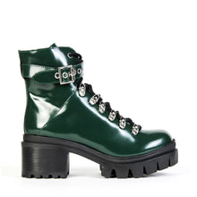 The Jeffrey Campbell Czech chunky platform combat booties, crafted in green box calf leather, elevated by a heavily lugged sole and chunky heel and finished with striking polished hardware. You will love Jeffrey Campbell's signature aesthetic in this leather combat bootie! Afterpay & zipPay Available. Free Shipping AU.