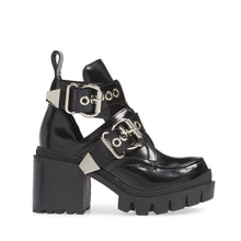 A mega toothed sole amps up both the height and attitude of the Drifter moto boot by Jeffrey Campbell. Cut from high shine black box calf leather and boasting gleaming silver buckle hardware. Free National Shipping. Afterpay and ziPpay available.