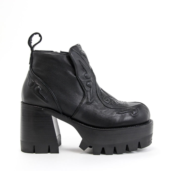 JEFFREY CAMPBELL Drop Top Lug Sole Platform Bootie Black Calf Leather.