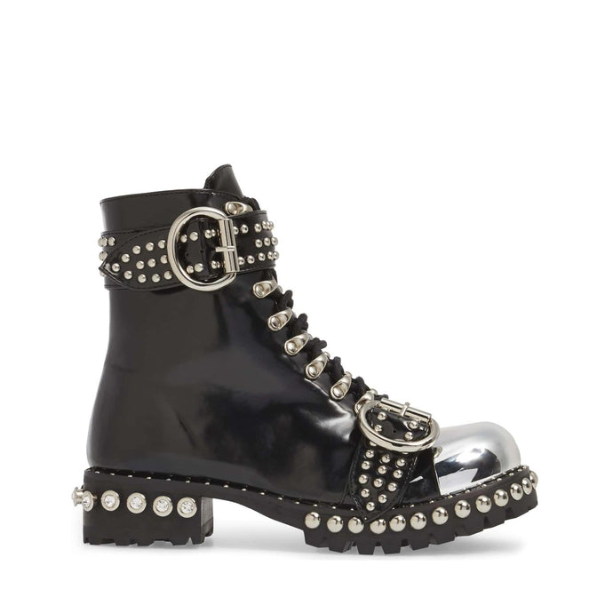 JEFFREY CAMPBELL Gustine Studded Cap Toe Combat Boot Black Shine.