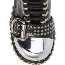 Studs, buckles and sparkling crystals add playful edge to the Jeffrey Campbell Gustine combat bootie. Crafted in high shine black box calf leather and elevated by a studded lug sole, chunky crystal embellished heel and featuring studded belt fastenings and silver capped toe. Afterpay & zipPay Available. Free Shipping AU.