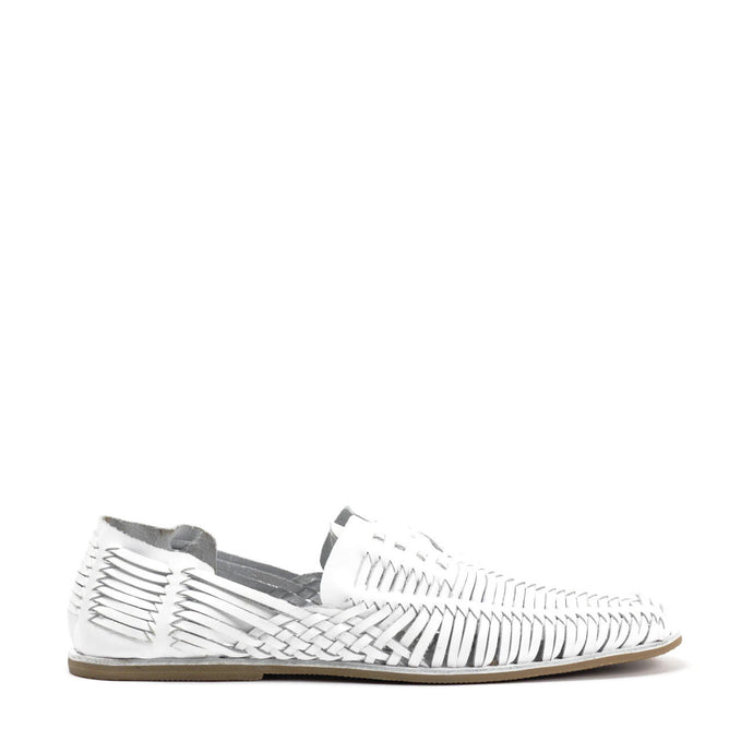 JEFFREY CAMPBELL HUARACHE. Woven Lace Up Sandal. White Leather Upper. Leather Insole. Man Made Sole. Designed In California.