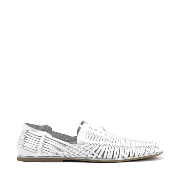 JEFFREY CAMPBELL Huarache SF Woven Lace-up Sandal White.