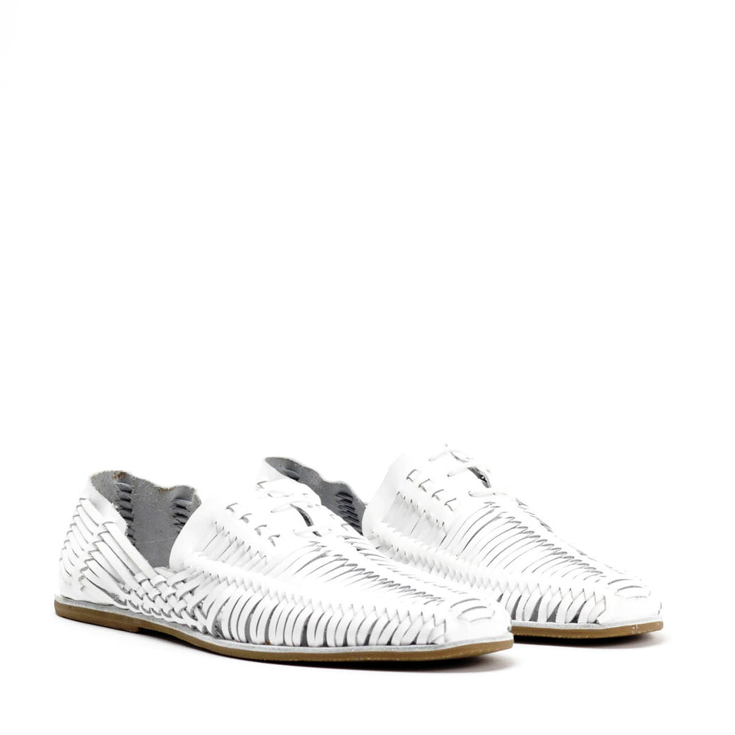 JEFFREY CAMPBELL Huarache Woven Lace-up Sandal White.