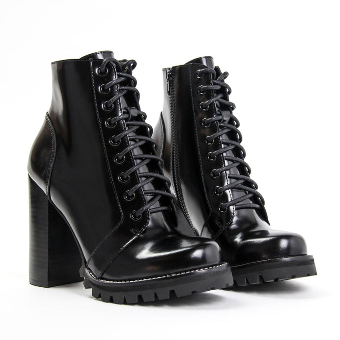 JEFFREY CAMPBELL Legion Combat Bootie Black Box Shine Leather.