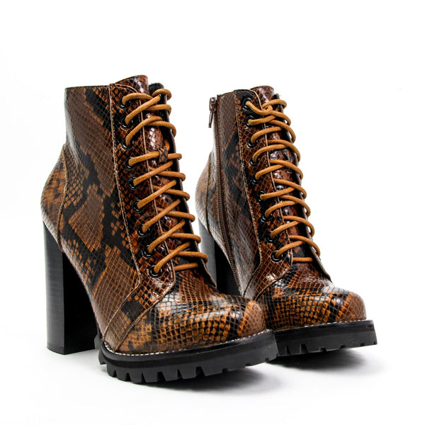 JEFFREY CAMPBELL Legion Combat Bootie Black Brown Snake Calf Leather.
