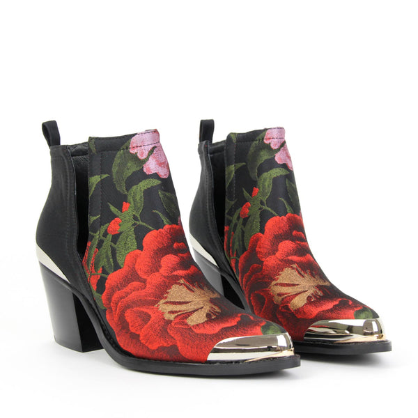 OPTIMUM Pull On Ankle Boot Rose Floral Brocade