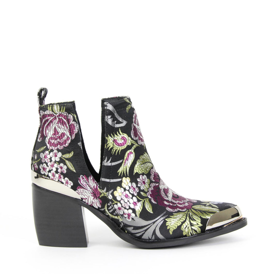 JEFFREY CAMPBELL OPTIMUM. Western Style Ankle Boot. Violet Floral Brocade Upper. Pointed Toe. Pull On Style. Silver Toe & Heel Rand Detail. Free Shipping. Afterpay It!