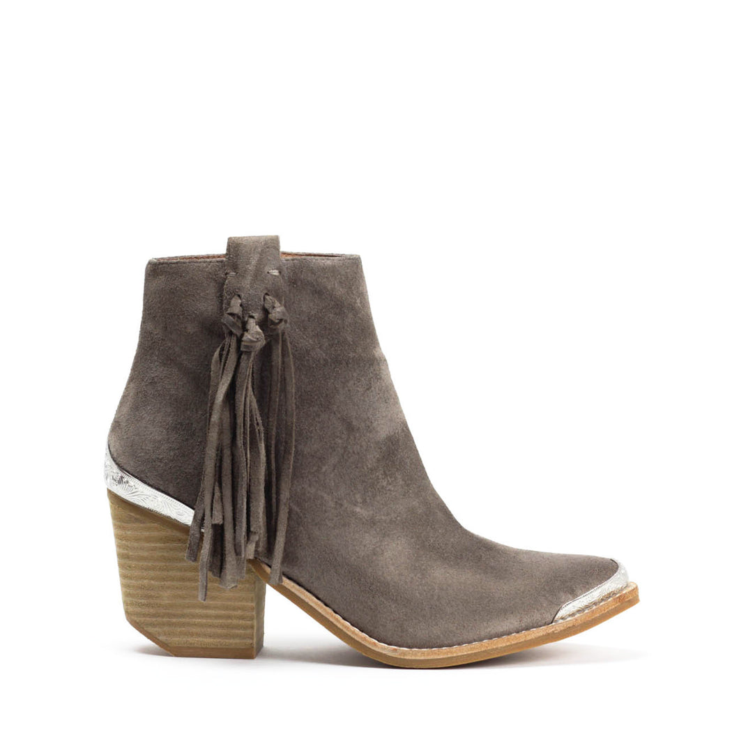 JEFFREY CAMPBELL PASCAL. Fringed Western Ankle Bootie. Taupe Suede. Free, Fast Shipping Australia Wide On Orders Over $150.