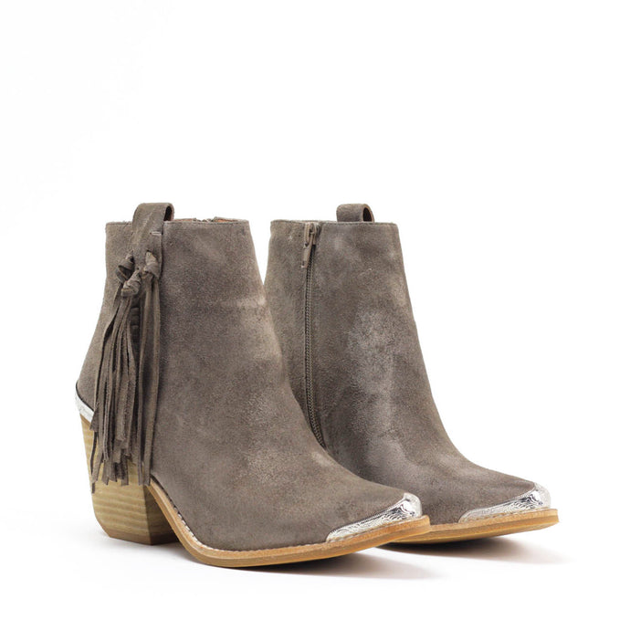 JEFFREY CAMPBELL PASCAL. Fringed Western Ankle Bootie. Taupe Suede